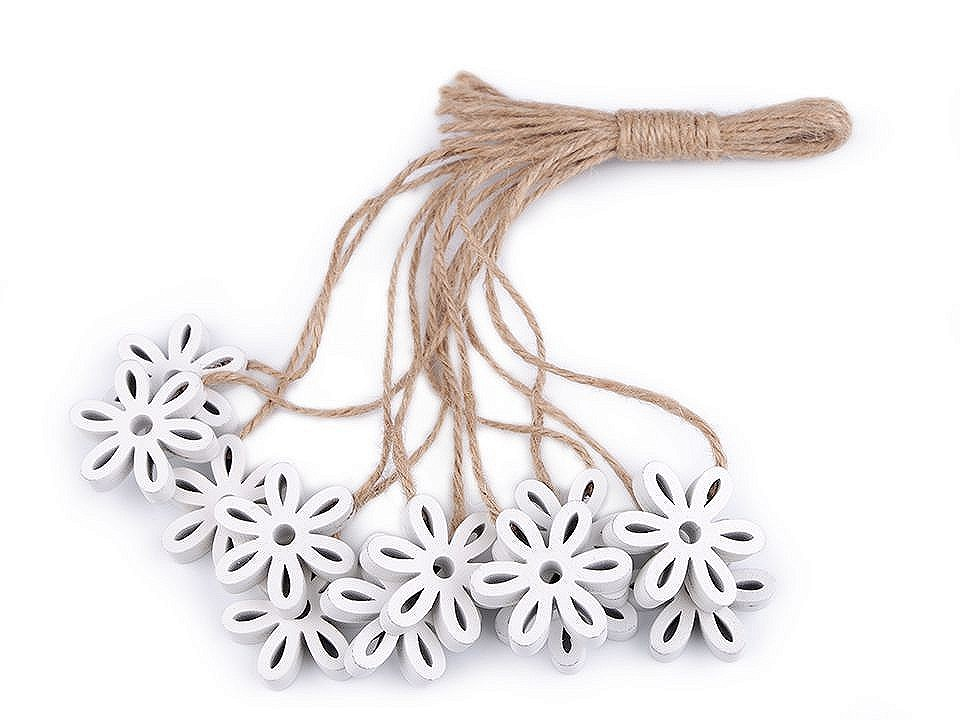 Dřevěný květ s provázkem 12 ks