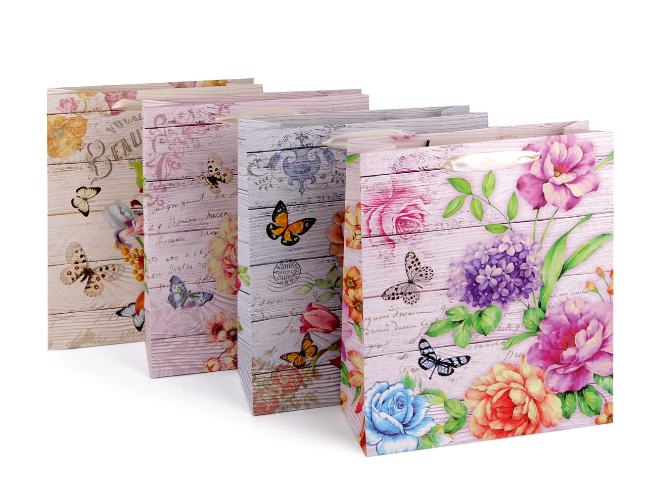 Dárková taška květy, střední velikost, sada 4 ks 12 ks