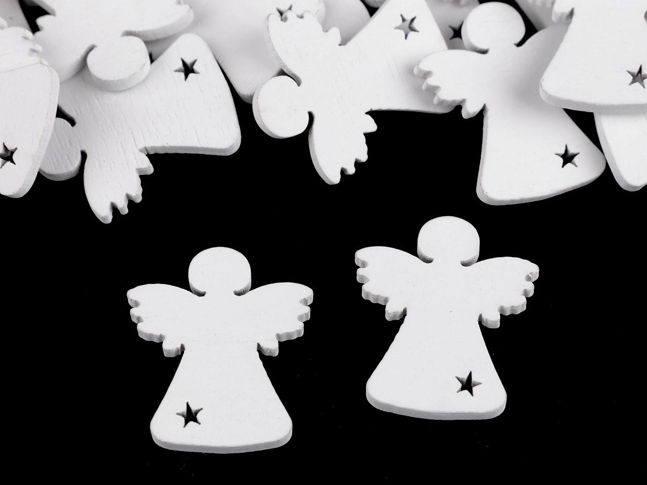 Dřevěný anděl k nalepení / aranžování 25 ks