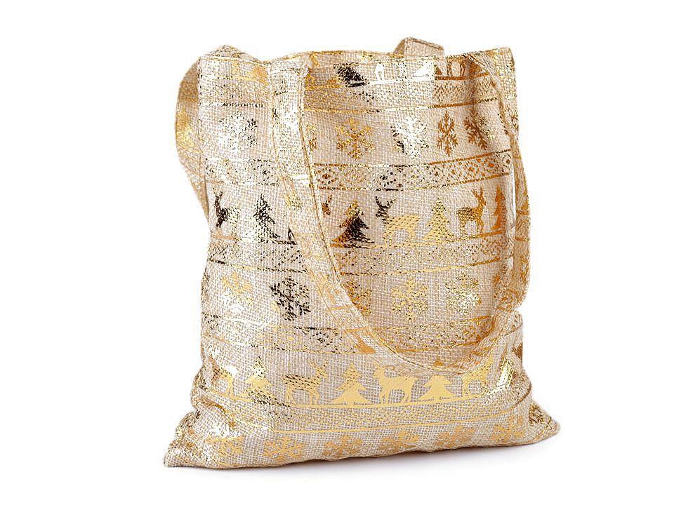 Dárková taška s ornamenty 20x21,5 cm imitace juty 1 ks