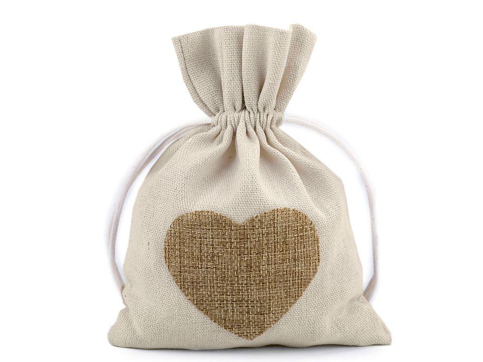 Bavlněný pytlík srdce 13x18 cm 10 ks
