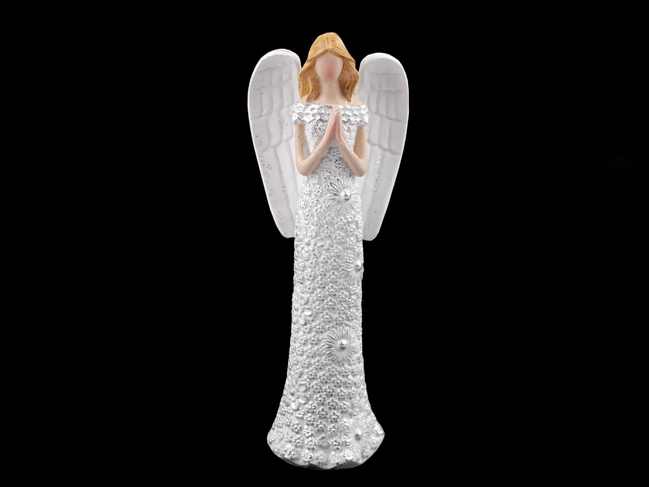 Dekorace anděl s jemnými glitry - malý 1 ks