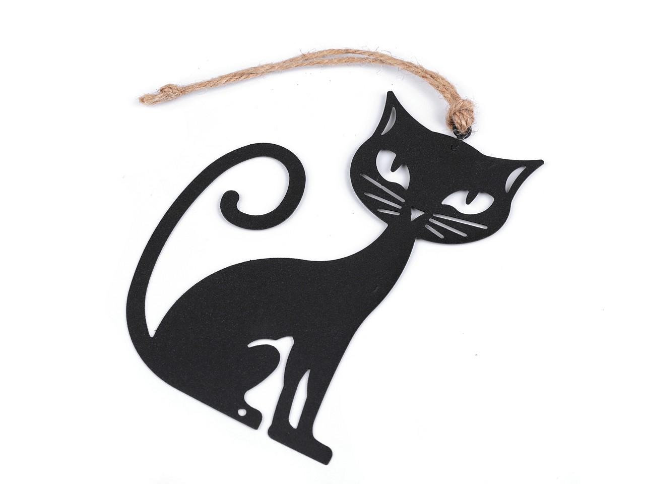 Černá kovová kočka k zavěšení 1 ks