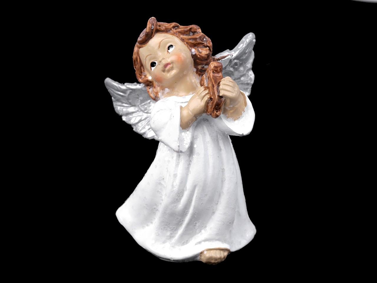 Dekorace anděl s jemnými glitry 1 ks