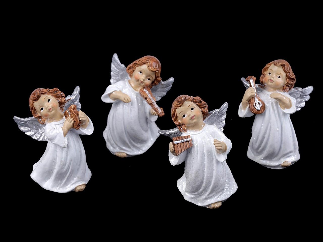 Dekorace anděl s jemnými glitry 12 ks