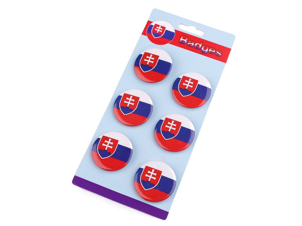Placka - vlajka Slovenská republika Ø3,5 cm 6 ks