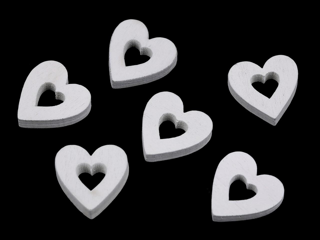 Dřevěné srdce k nalepení 36 ks