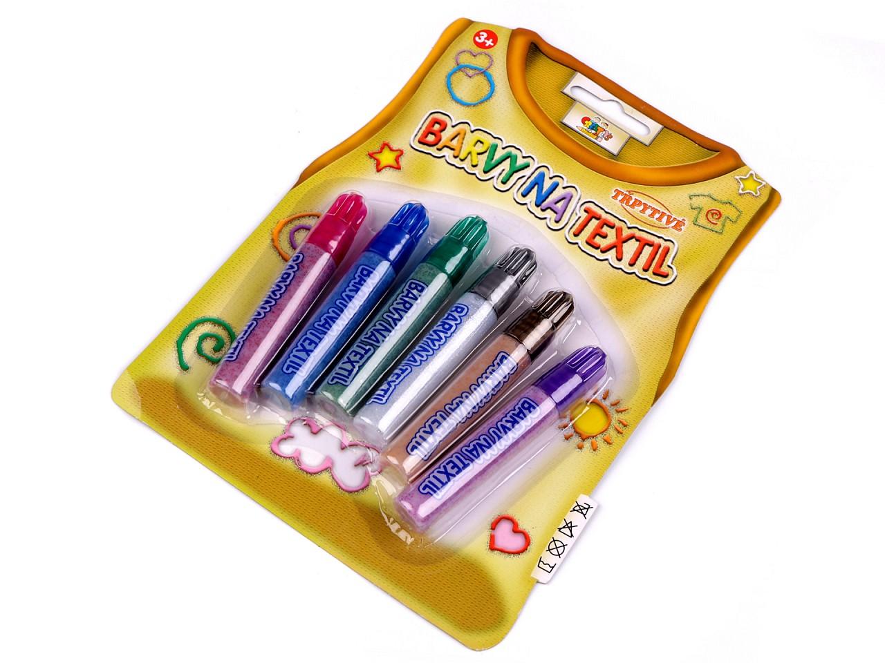 Barvy na textil třpytivé, perleťové 6 ks 1 ks