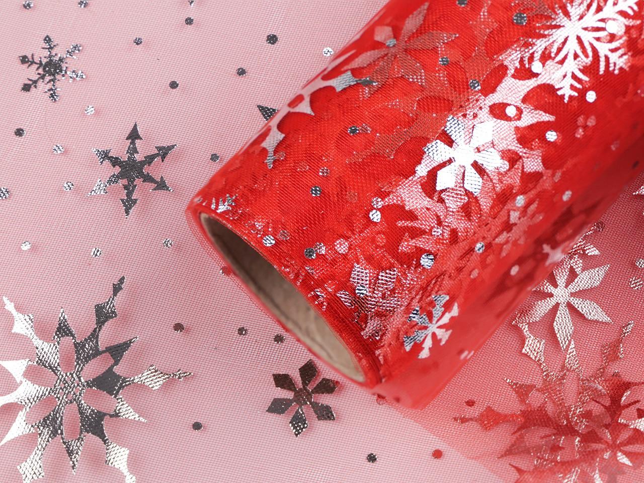 Vánoční organza / stuha šíře 20 cm vločky 4.5 ks