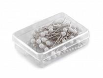 Špendlíky s plastovou hlavičkou délka 32 mm bílé