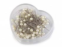 Stecknadeln Kunststoffköpfe / Perlennadeln Länge 40 mm Herz