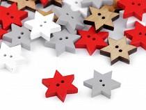 Dřevěný dekorační knoflík hvězda