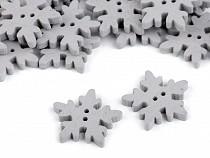 Guzik drewniany dekoracyjny śnieżynka