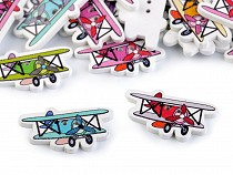 Dřevěný dekorační knoflík letadlo
