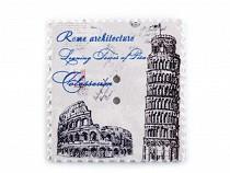 Drevený dekoračný gombík poštová známka