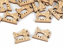 Dřevěný knoflík šicí stroj, náprstek, cívka, metr