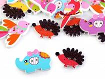 Decorative Wooden Button Animals