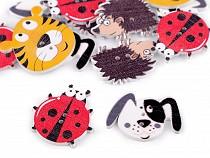 Fa dekorációs gomb állatkák - kutya, süni, katicabogár, tigris