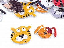 Wooden Decorative Button Animals - dog, hedgehog, ladybird, tiger