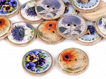 Button Imitation Wood, size 40