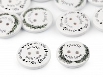 Decorative Wooden Button Made with love