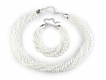 Glass-Based Imitation Pearls Necklace and Bracelet