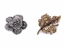 Brož květ a list s broušenými kamínky