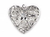 Pandantiv medalion pentru poză inimă, 26x26mm