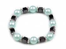 Elastic bracelet of plastic round beads