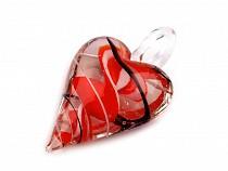 Skleněný přívěsek srdce 30x45 mm