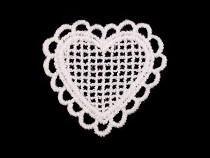 Textilní aplikace / nášivka krajková srdce