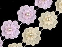 Čipka kvet s perlou šírka 40 mm
