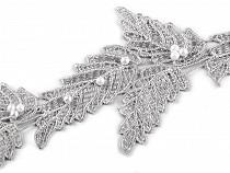 Vzdušná krajka / vsadka šíře 10 cm s perlami