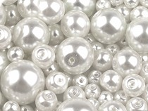 Round Glass Pearl Imitation Beads mix of sizes approx. Ø4-12 mm