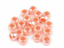 Plastové perly s velkým průvlekem 7x10 mm