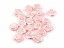 Plastové voskové korálky / perly růžičky s průvlekem Ø13 mm