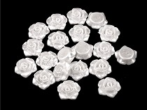 Plastové voskové koráliky / perly ružička s prievlakom Ø13 mm