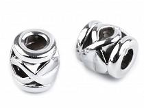 Műanyag gyöngyök Metalic nagy lyukú 10x10 mm