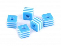 Plastic Beads Cube 9x10x10 mm with stripes