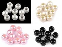Plastové perly s velkým průvlekem 11x15 mm