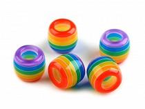 Műanyag gyöngyök csíkozással nagy lyukkal 10x12 mm