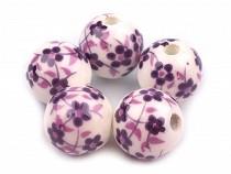 Porzellan Perlen rund Blumen Ø12 mm