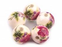 Porcelánové koráliky s kvetmi Ø12 mm