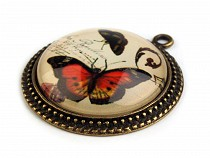 Round Charm Pendant Ø31 mm with Butterfly
