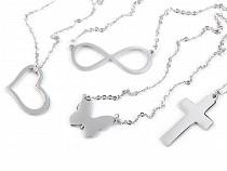 Náhrdelník srdce, krížik, motýľ, nekonečno z nerezovej ocele