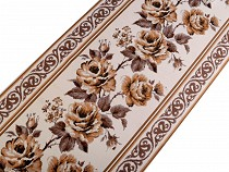 Panglică cu motiv floral țesut tip goblen, metraj, lățime 35,5 cm