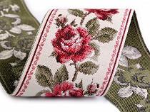 Panglică cu motiv floral țesut tip goblen, metraj, lățime 9 cm