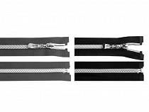Spirálový zip se stříbrnými zoubky šíře 7 mm délka 65 cm
