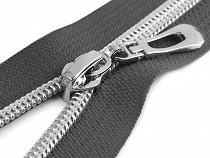 Spirálový zip se stříbrnými zoubky šíře 7 mm délka 70 cm