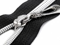 Špirálový zips so striebornými zúbkami šírka 7 mm dĺžka 80 cm